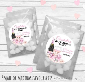 Champagne & Flowers Personalised Adult Birthday Party Favours Glassine Bags Kits x12