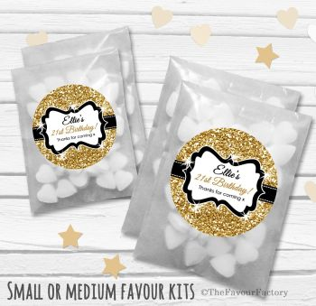 Gold Glitter Personalised Adult Birthday Party Favours Glassine Bags Kits x12