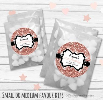 Rose Gold Glitter Personalised Adult Birthday Party Favours Glassine Bags Kits x12