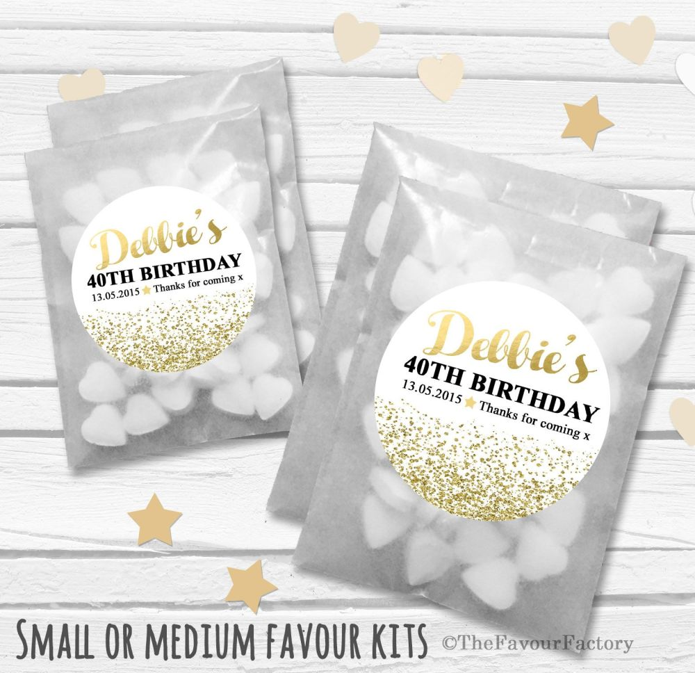 Gold Glitter Confetti Personalised Adult Birthday Party Favours Glassine Ba