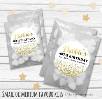 Gold Glitter Confetti Personalised Adult Birthday Party Favours Glassine Bags Kits x12
