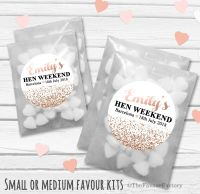Rose Gold Glitter Confetti Personalised Hen Party Bag Fillers Sweets Bags Kits x12