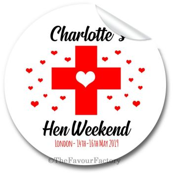 Red Heart Cross Personalised Hen Night Party Bag Stickers