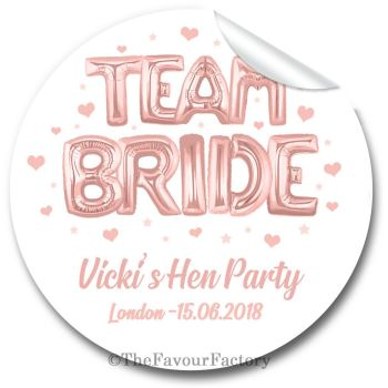 Team Bride Rose Gold Balloons Personalised Hen Do Party Bag Stickers Labels