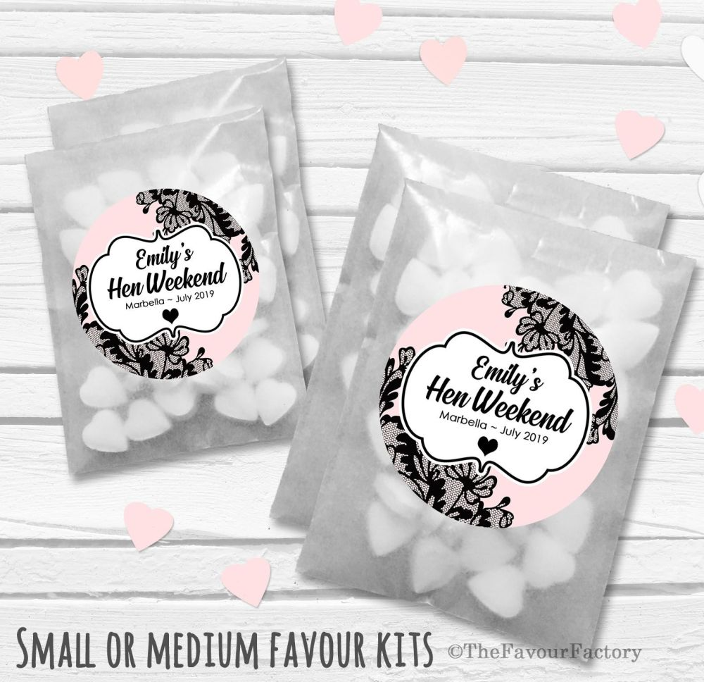 Black Lace Personalised Hen Party Favours Glassine Bags Kits x12