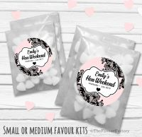 Black Lace Personalised Hen Party Bag Fillers Sweets Bags Kits x12