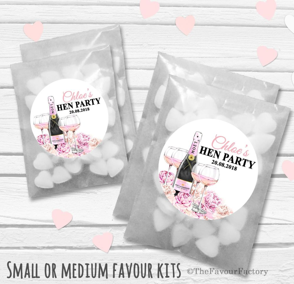 Personalised Hen Party Favours Glassine Bags Kits x12