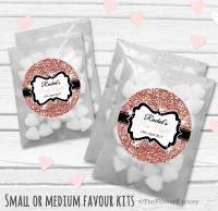 Rose Gold Glitter Personalised Hen Party Bag Fillers Sweets Bags Kits x12