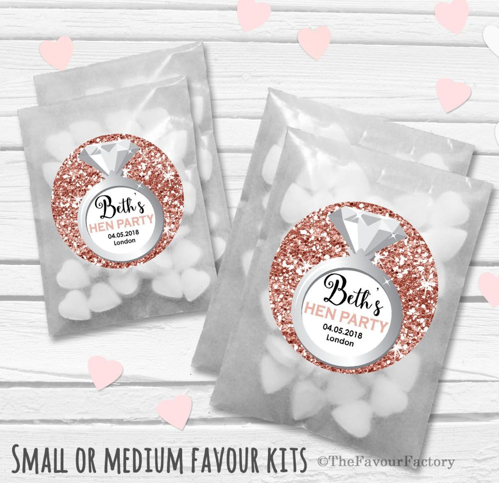 Rose Gold Glitter Confetti Personalised Hen Party Favours Glassine Bags Kit