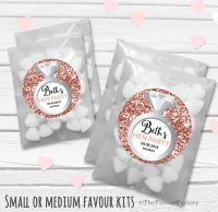 Ring Rose Gold Glitter Personalised Hen Party Bag Fillers Sweets Bags Kits x12