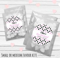 Hearts Personalised Hen Party Bag Fillers Sweets Bags Kits x12