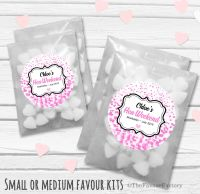 Pink Confetti Personalised Hen Party Bag Fillers Sweets Bags Kits x12