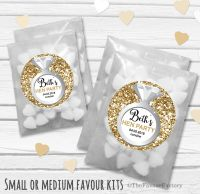 Ring Gold Glitter Personalised Hen Party Bag Fillers Sweets Bags Kits x12