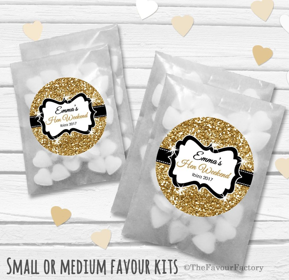 Gold Glitter Confetti Personalised Hen Party Favours Glassine Bags Kits x12