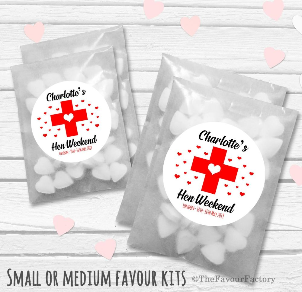 Red Heart Cross Personalised Hen Party Favours Glassine Bags Kits x12