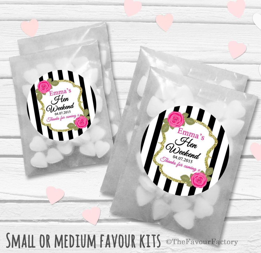 Black Stripe Roses Personalised Hen Party Favours Glassine Bags Kits x12