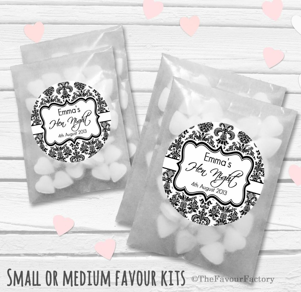 Elegant Damask Personalised Hen Party Favours Glassine Bags Kits x12