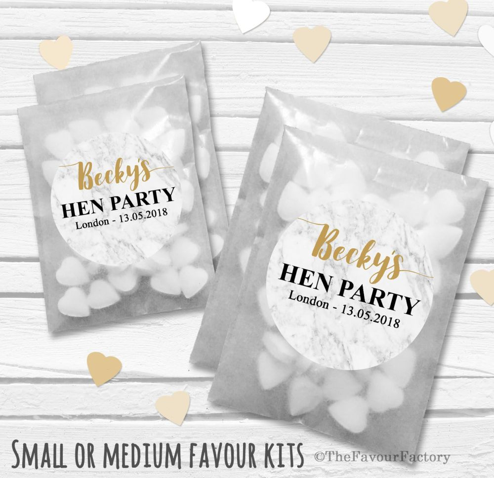 Marble Personalised Hen Party Favours Glassine Bags Kits x12