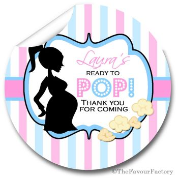 Ready to POP Pink Blue Personalised Baby Shower Party Popcorn Stickers