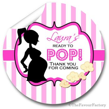 Ready to POP Pink Personalised Baby Shower Party Popcorn Stickers
