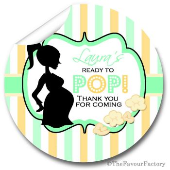 Ready to POP Green Personalised Baby Shower Party Popcorn Stickers
