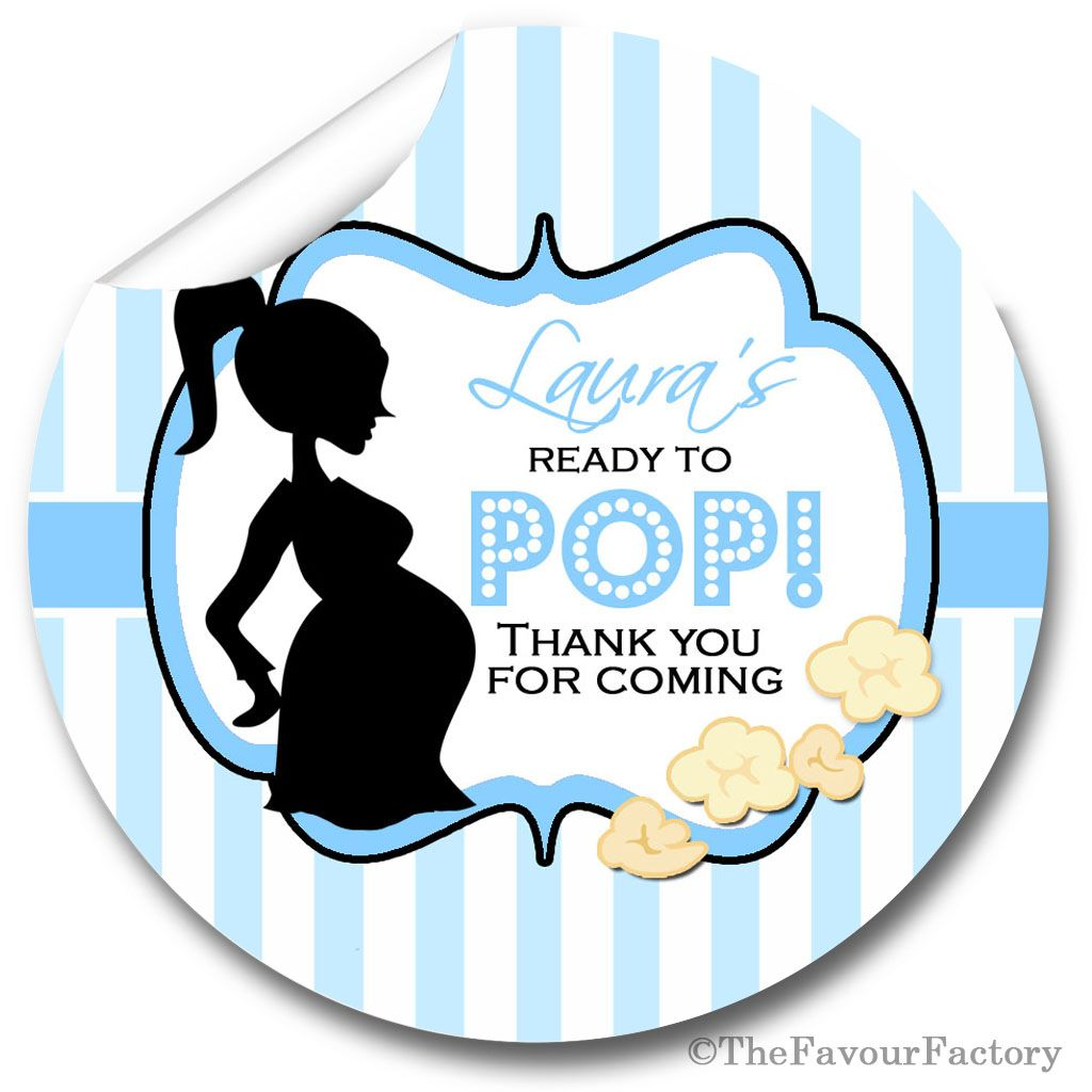 Ready to POP Blue Personalised Baby Shower Party Popcorn Stickers