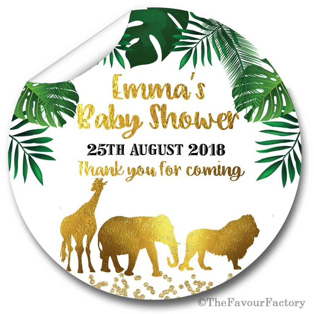 Gold Safari Animals Personalised Baby Shower Party Favours Stickers