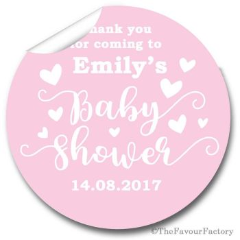 Love Hearts Pink Personalised Baby Shower Party Favours Stickers