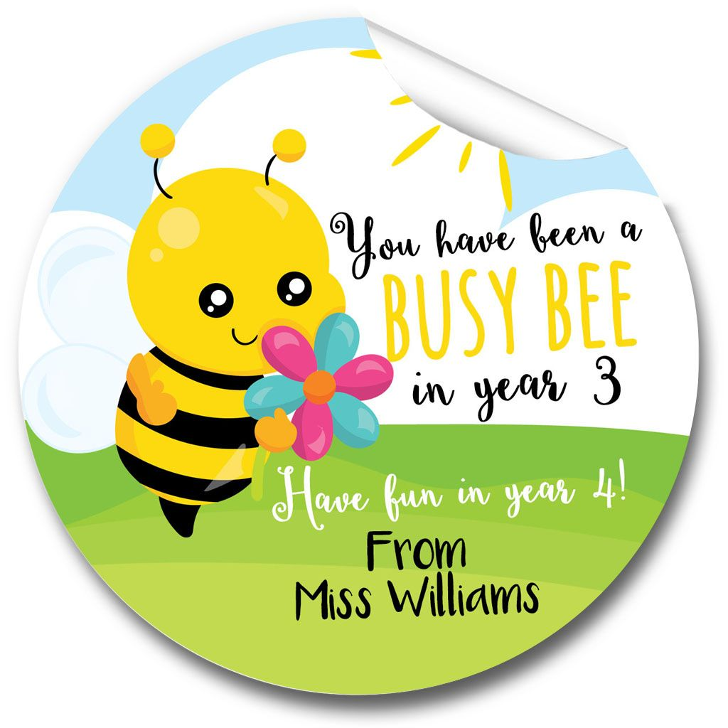 Busy Bee End of Year Teacher Stickers,  Personalised 1xA4 sheet