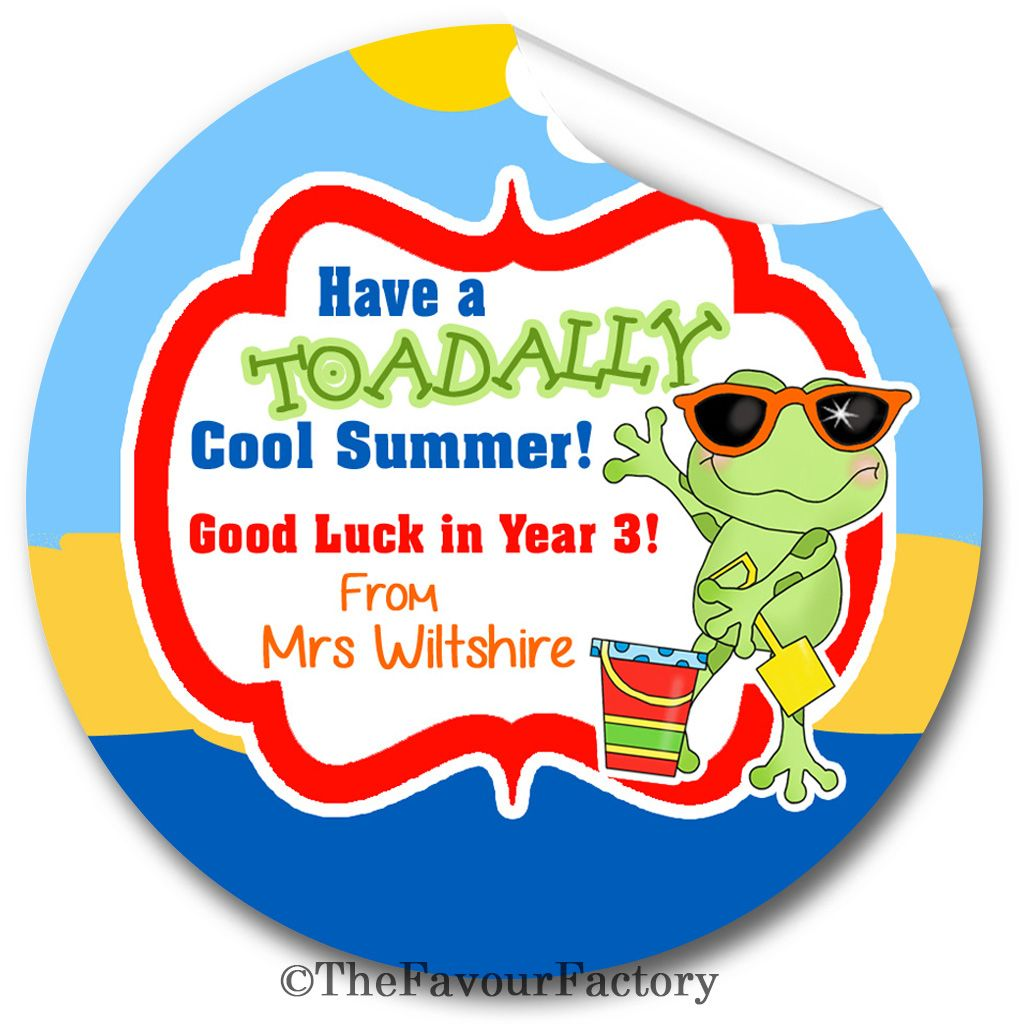 Toadally Cool Summer End of Year Teacher to Class Personalised Stickers Lab