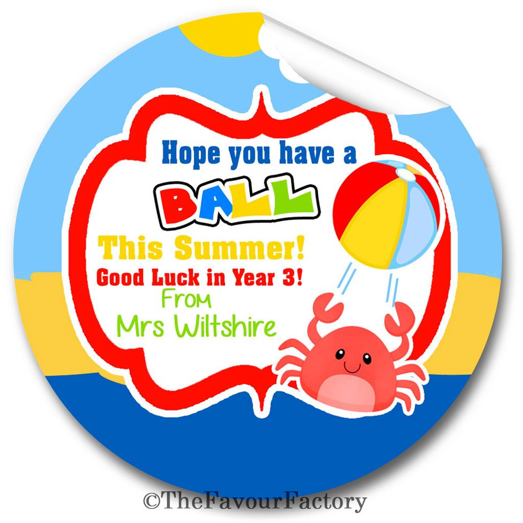 Teacher end of summer term year to pupils personalised stickers