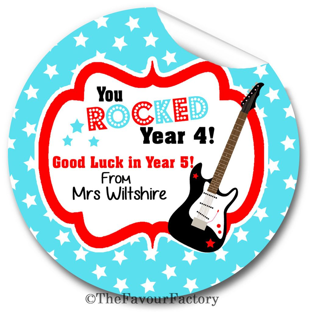 You Rocked End of Year Teacher to Class Personalised Stickers Labels