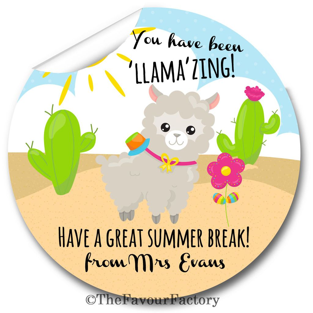 LLAMAZING End of Year Teacher to Class Stickers