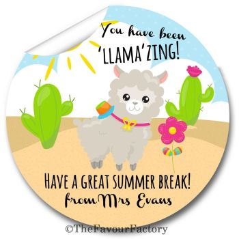 You have been LLAMAZING End of Year Teacher to Class Personalised Stickers Labels