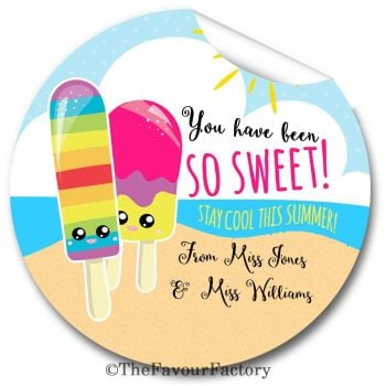 Ice Lollies So Sweet End of Year Teacher to Class Personalised Stickers Labels