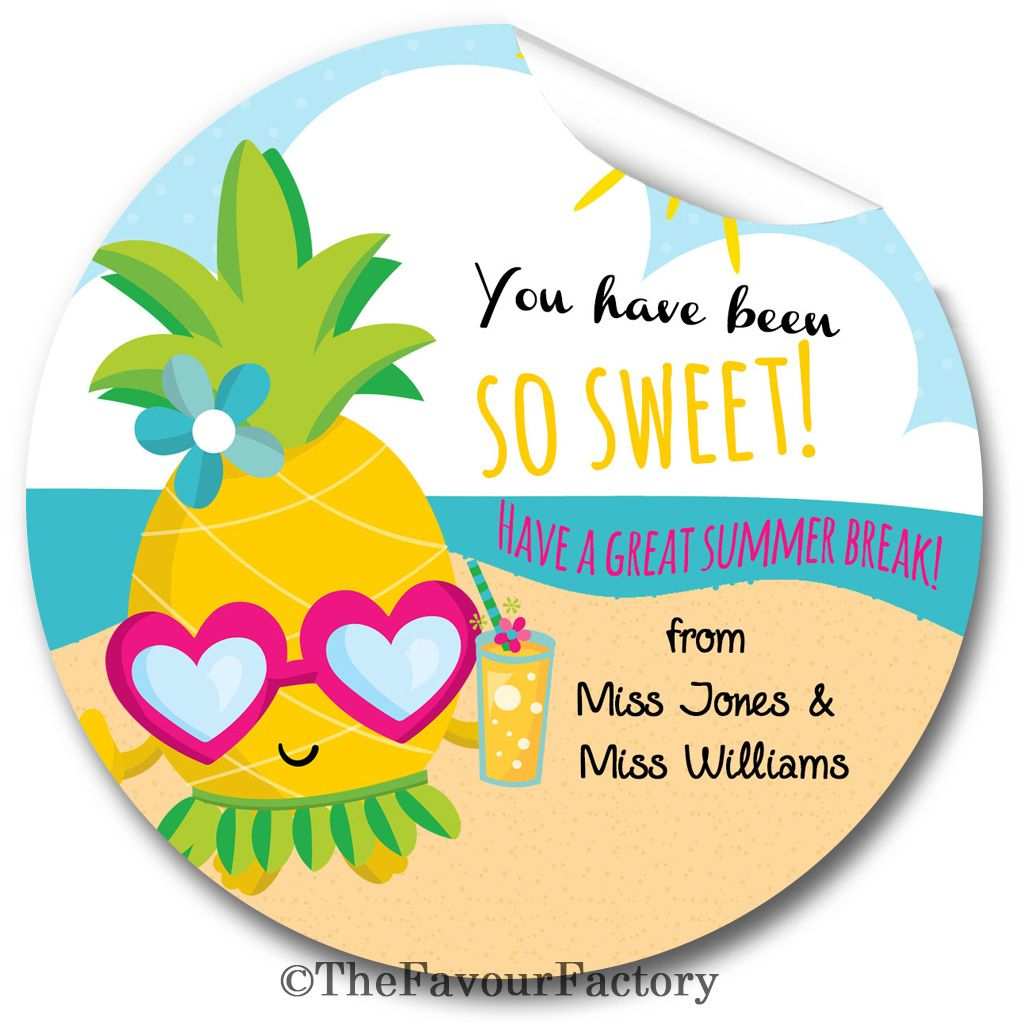 Pineapple so sweet end of year teacher to class personalised stickers label