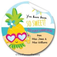 Pineapple So Sweet End of Year Teacher to Class Personalised Stickers Labels
