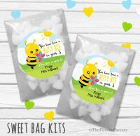Busy Bee End of Year Teacher Personalised Eco-Friendly Sweet Bags Kits x12