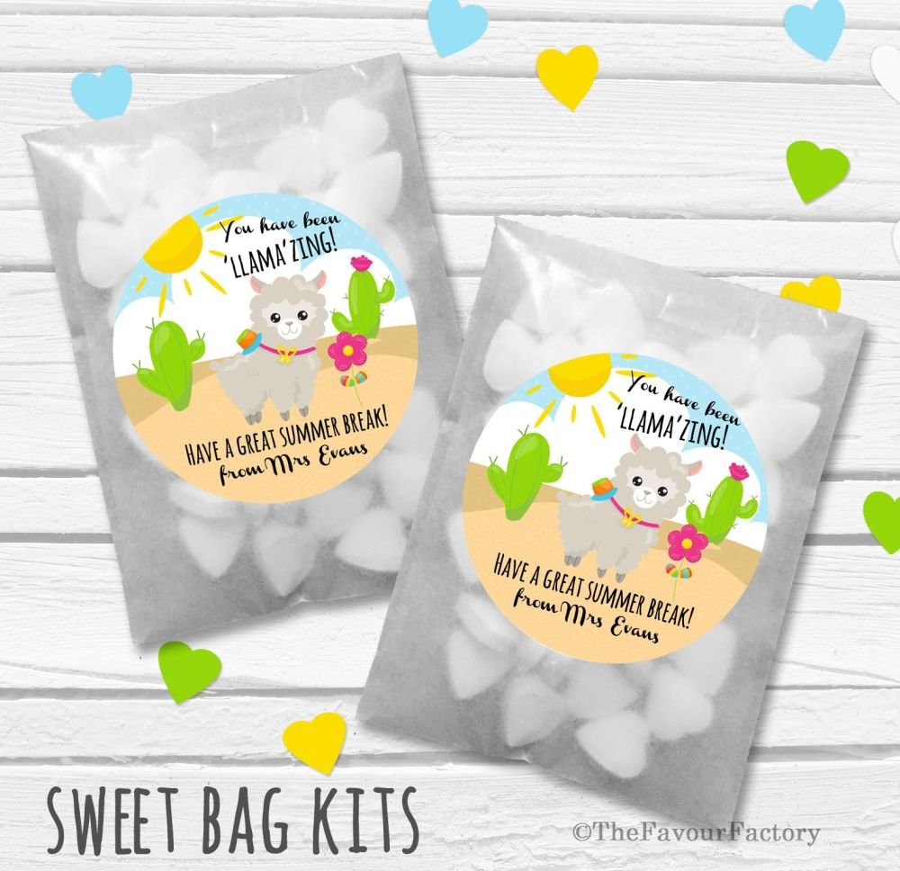 Lllama Llamazing End of Year Teacher Personalised Eco-Friendly Sweet Bags K