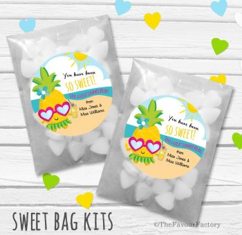 Pineapple So Sweet End of Year Teacher Personalised Eco-Friendly Sweet Bags Kits x12
