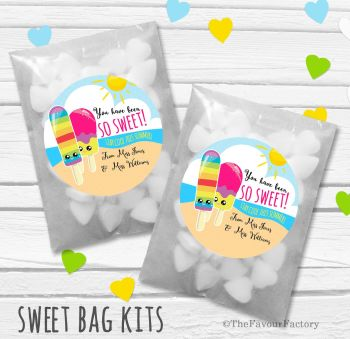 Ice Lollies So Sweet End of Year Teacher Personalised Eco-Friendly Sweet Bags Kits x12