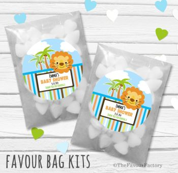 Lion Personalised Baby Shower Party Favours Glassine Bags Kits x12