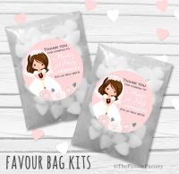 Floral Brown Hair Girl Personalised Holy Communion Party Favours Glassine Bags Kits x12