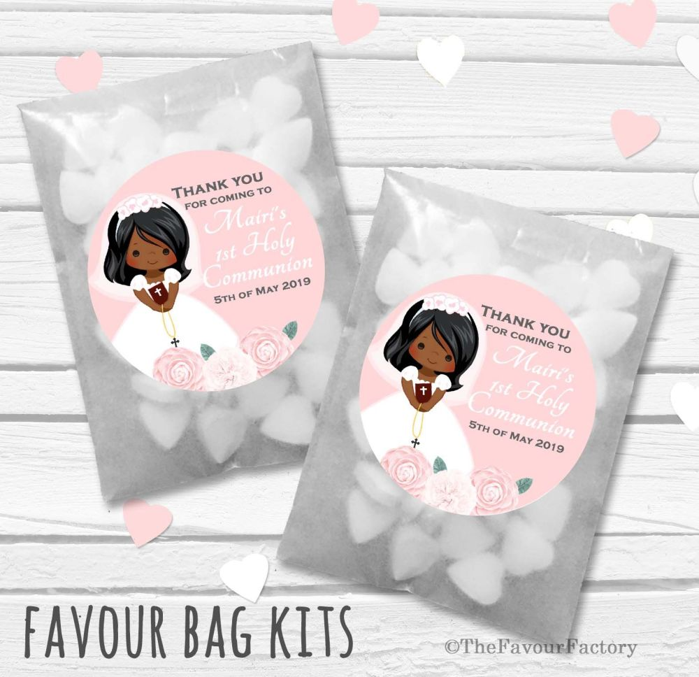Floral Brown Hair Girl Personalised Holy Communion Party Favours Glassine B
