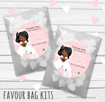 Floral Girl Personalised Holy Communion Party Favours Glassine Bags Kits x12