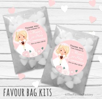 Floral Blonde Hair Girl Personalised Holy Communion Party Favours Glassine Bags Kits x12