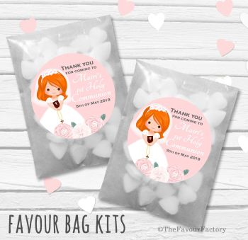 Floral Ginger Hair Girl Personalised Holy Communion Party Favours Glassine Bags Kits x12
