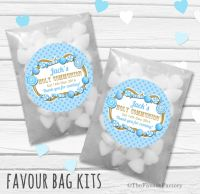 Candy Sweets Blue Personalised Holy Communion Party Favours Glassine Bags Kits x12