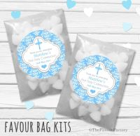Cross Damask Blue Personalised Holy Communion Party Favours Glassine Bags Kits x12
