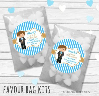 Boy Brown Hair Personalised Holy Communion Party Favours Glassine Bags Kits x12